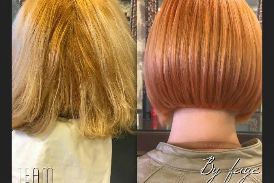 Bob Haircut Before After Color Change Αλλαγή Χρώματος Κούρεμα Χάλκινο