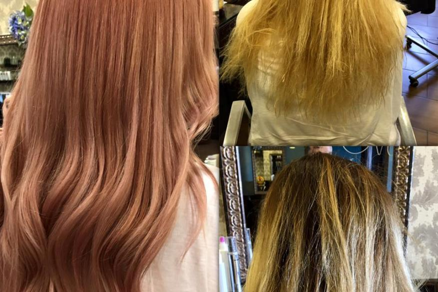Blonde Pink Long Hair Before After Ροζ Ξανθό Αλλαγή Χρώματος