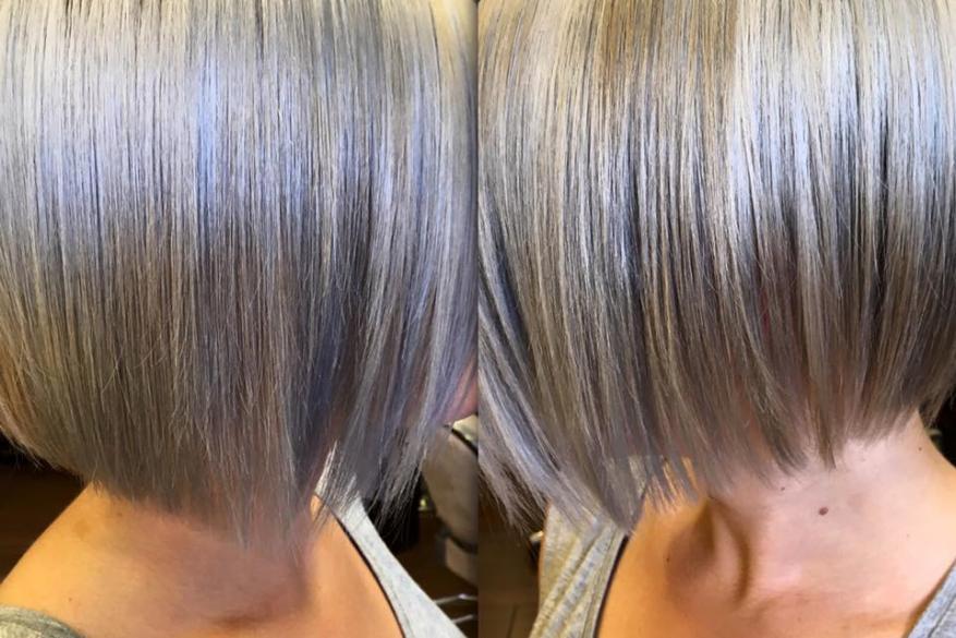 Γκρι Ασημί Ξανθό Κοντό Κούρεμα Platinum Silver Blond Short Haircut
