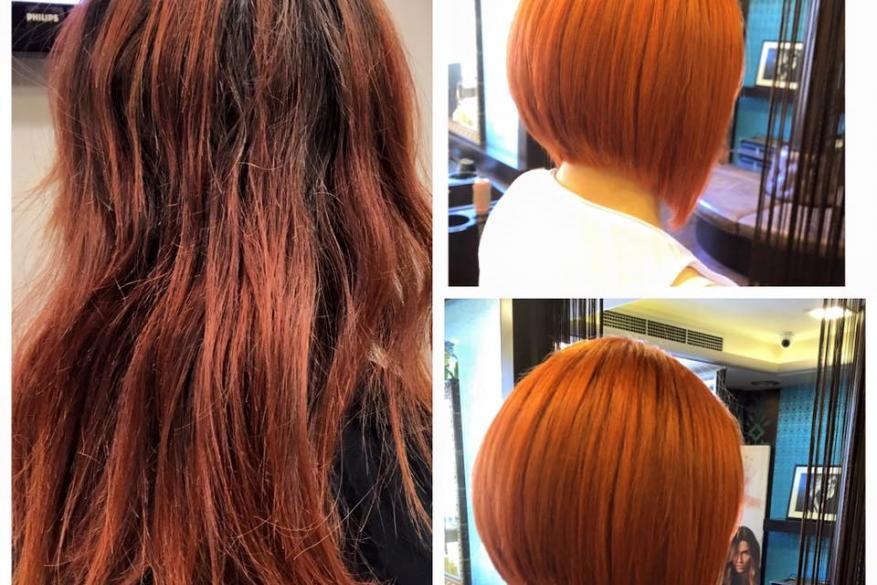 Color Change Copper Bob Haircut Αλλαγή Χρώματος Κοντό Κούρεμα Χάκινο