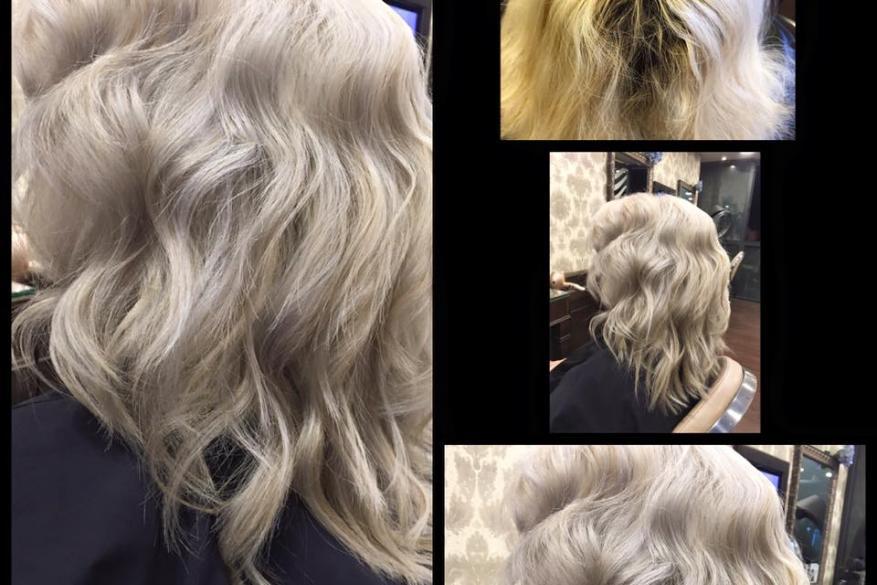 White Blonde Highlights Before After Αλλαγή Χρώματος Ξανθό Άσπρο Ανταύγειες