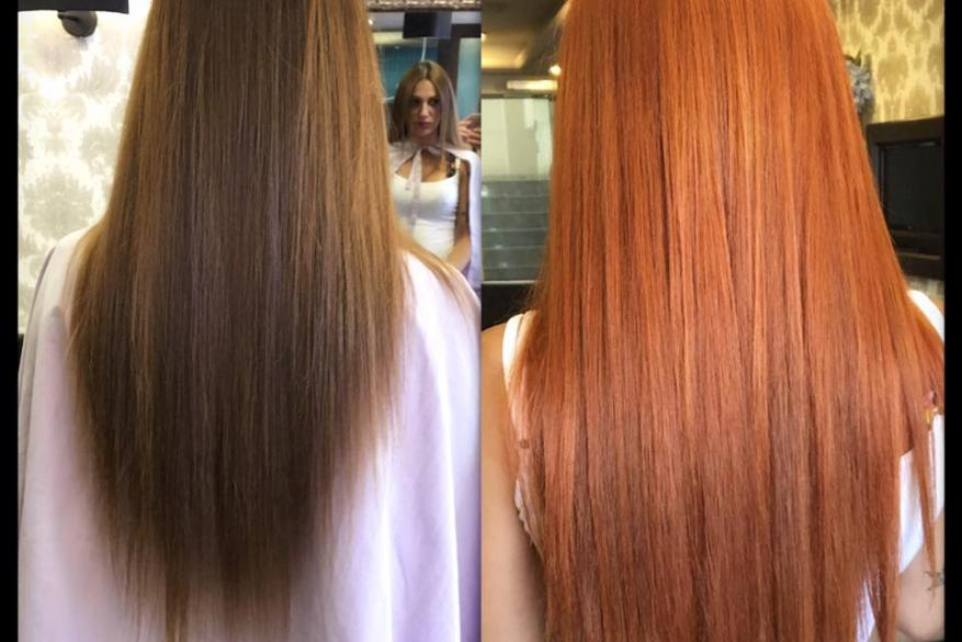 Color Change Brown Copper Extensions Αλλαγή Χρώματος Χάλκινο Μακρύ Μαλλί