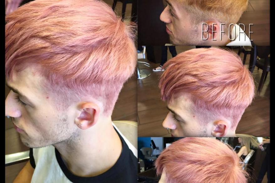 Αλλαγή Χρώματος Ξανθό Ροζ Αντρικό Κούρεμα Pink Man Haircut Before After Color Change