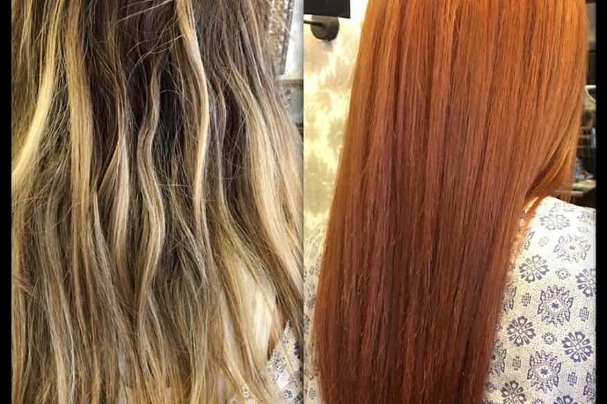Color Change Before After Copper Long Straight Hair Αλλαγή Χρώματος Μακρύ Χάλκινο Mali Expressions