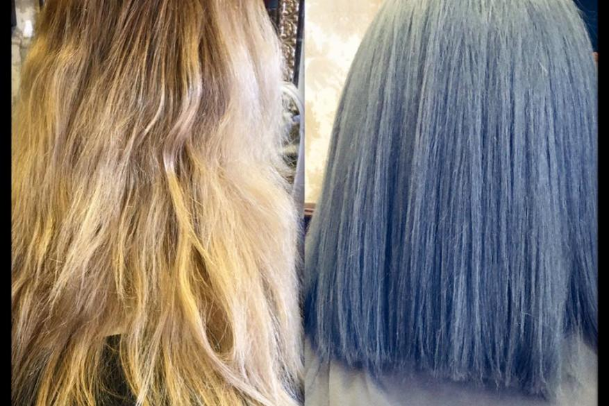 Color Change Before After Blue Haircut Πριν Μετά Αλλαγή Χρώματος Ξανθό Μπλε