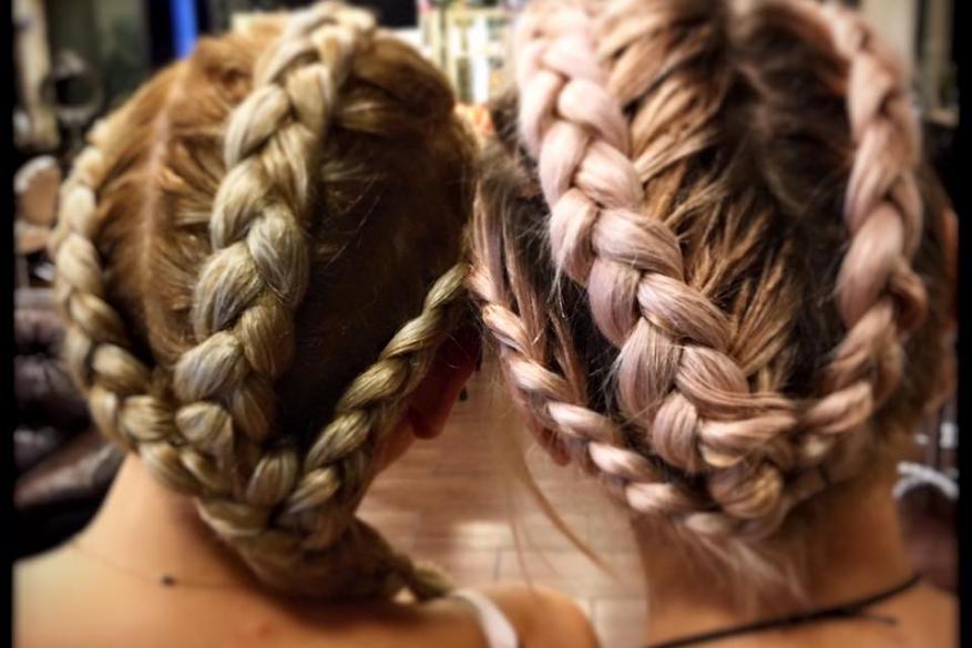 Γαλλική Κοτσίδα Κοτσιδάκια Χτένισμα Ροζ Extensions Styling Brades Braded Mali Expressions Pink Blonde