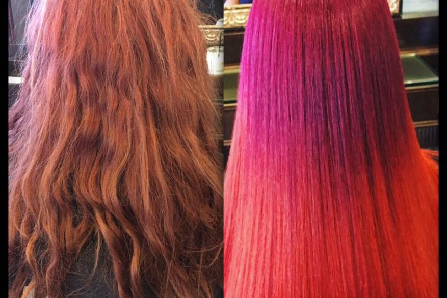Crazy Colors Ombre Before After Pink Purple Αλλαγή Χρώματος Έντονο Ροζ Φούξια Όμπρε