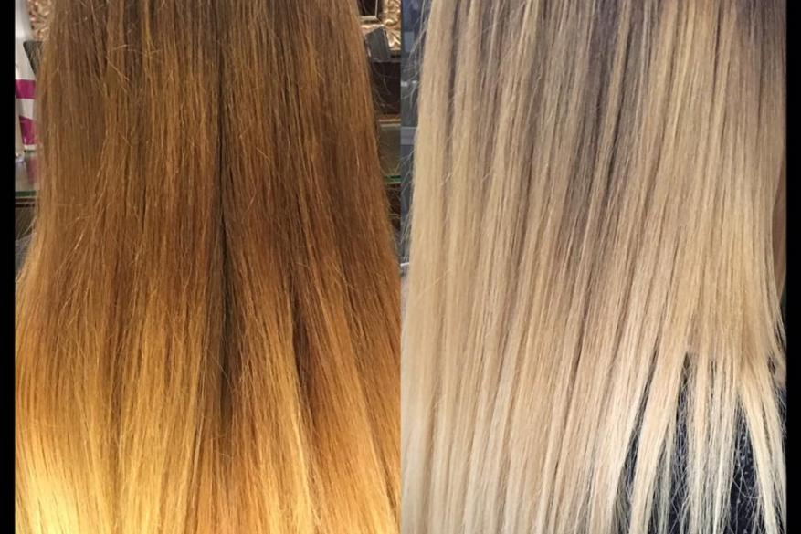 Before After Color Change Ombre Blonde Αλλαγή Χρώμα Ξανθό Όμπρε