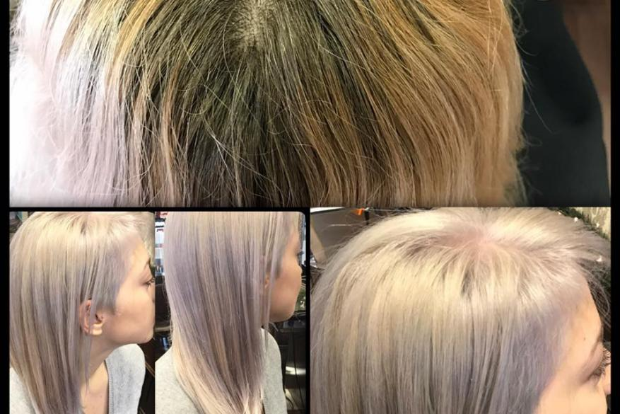 Before After Bleach Blonde Highlights Ανταύγειες Ξανθό Ασημί Αλλαγή Χρώμα