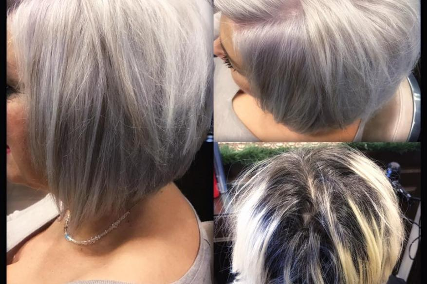 Grey Hair Bleach Short Haircut Κοντό Κούρεμα Ασημί Ξανθό