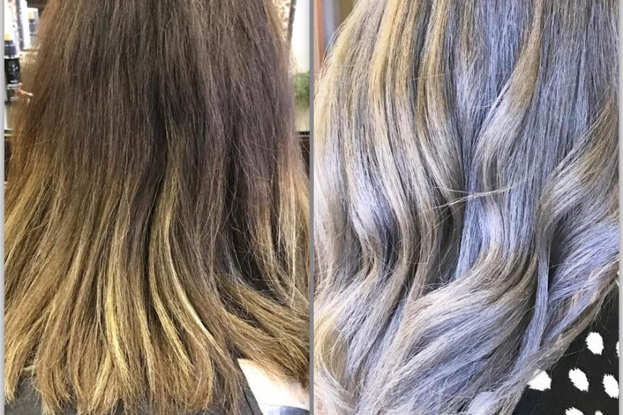 Before After Cool Blonde Ombre Πριν Μετά Αλλαγή Χρώμα Ξανθό Ψυχρό Ασημί