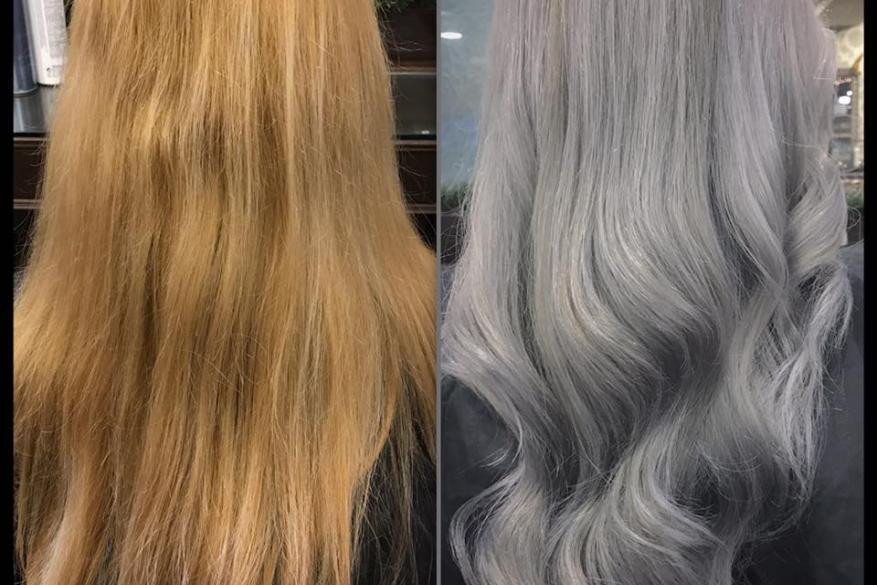 Long Light Grey Hair Color Correction Γκρι Μακρύ Αλλαγή Χρώματος
