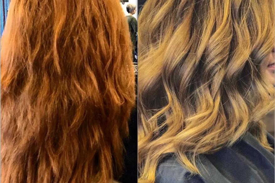 Color Change Faded Copper Blond Ombre Blayaze Αλλαγή Χρώμα Όμπρε Ξανθό Μπαλαγιάζ