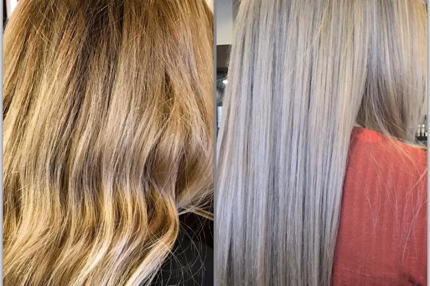Highlights Silver Blonde Long Hair Μακρύ Ασημί Ξανθό Ανταύγειες