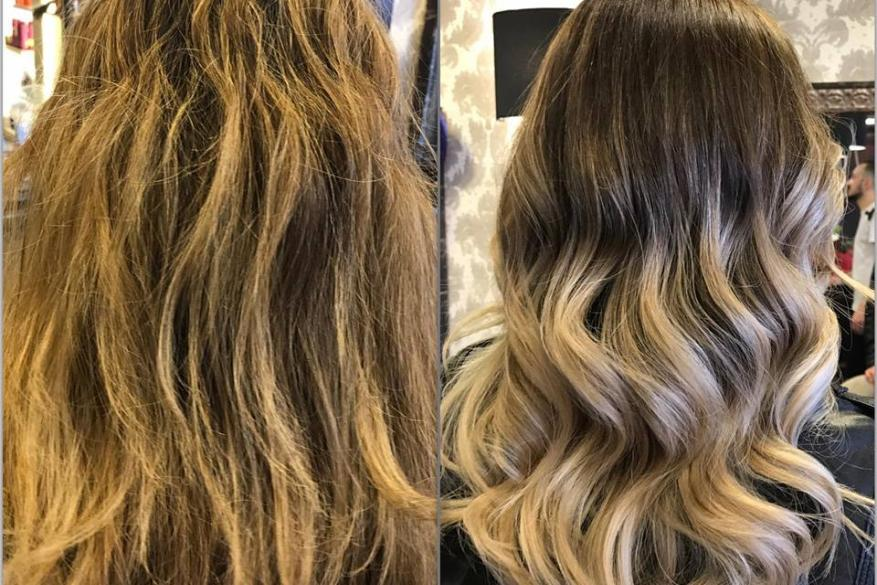 Ombre Dark Roots Before After Αλλαγή Χρώμα Όμπρε Ξανθό