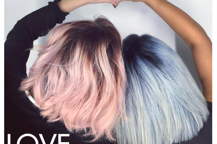 Color Love Blue Pink Μπλε ροζ Χρώμα Καρδιά Μαλλί