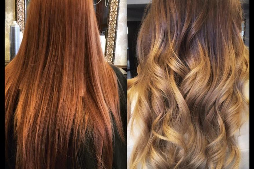 Ombre Balayaze Change Before After Copper vs Brown Blonde Όμπρε Χάλκινο Ξανθό Καστανό Αλλαγή Χρώματος